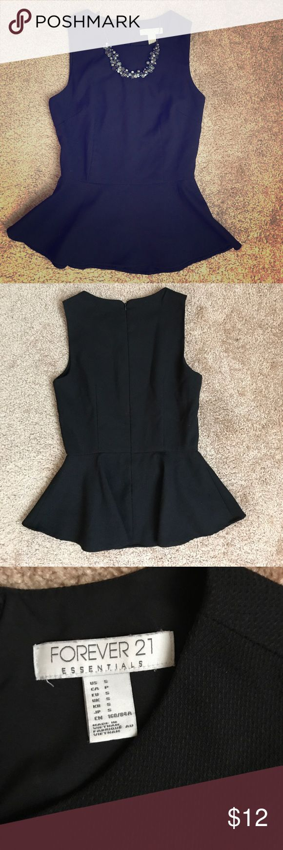Forever 21 Black Peplum Top Black Peplum Top. Excellent used condition. Shell 64% Polyester 34% Rayon Lining 100% Polyester Forever 21 Tops