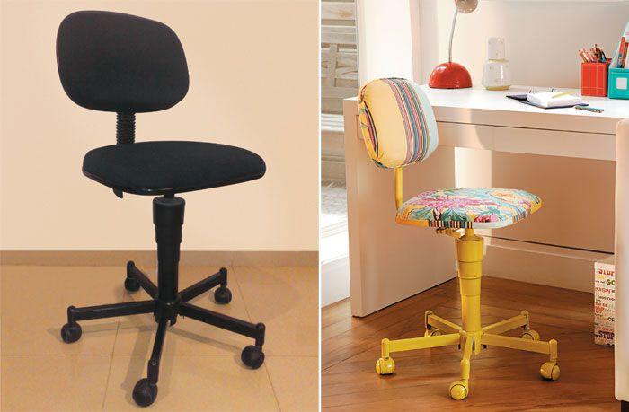 Com um pouco de esforço e criatividade, a cadeira de escritório pode se tornar um móvel descolado: monte um patchwork com retalhos de jeans, uma cortina esquecida ou sobras de tecido, para revestir o estofado. Caso não queira se arriscar, contrate mão de obra especializada.