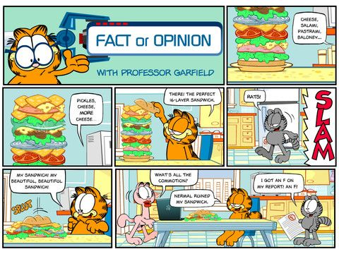 Free iPad App - Internet Safety with Professor Garfield - Fact or Opinion. Through reading and interacting with the Try and Apply sections of this comic, users will: • learn the difference between a fact and an opinion, particularly with regard to the Internet • understand that some websites contain facts, some contain opinions, and some contain both • learn that a fact can be verified