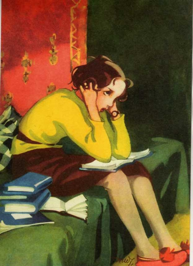 Schoolgirl with books at home. -- Cover art for Kotiliesi Magazine, March, 1936 (Finland). Martta Wendelin (Finland, 1893-1986).