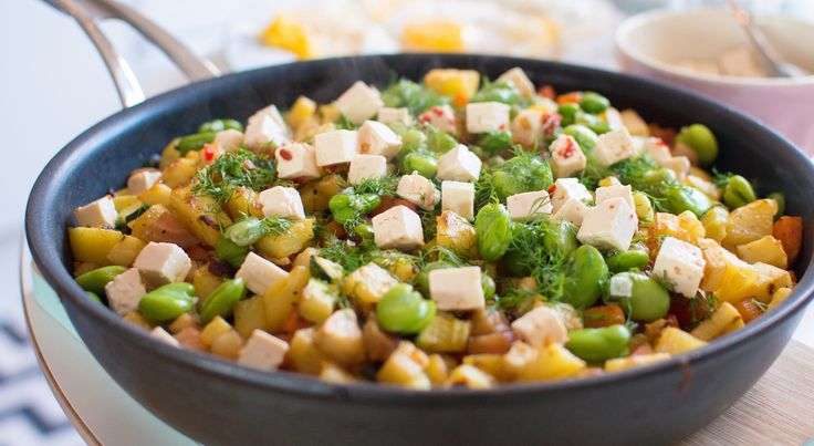 Healthier Hash with mixed root veggies, edamame beans and feta