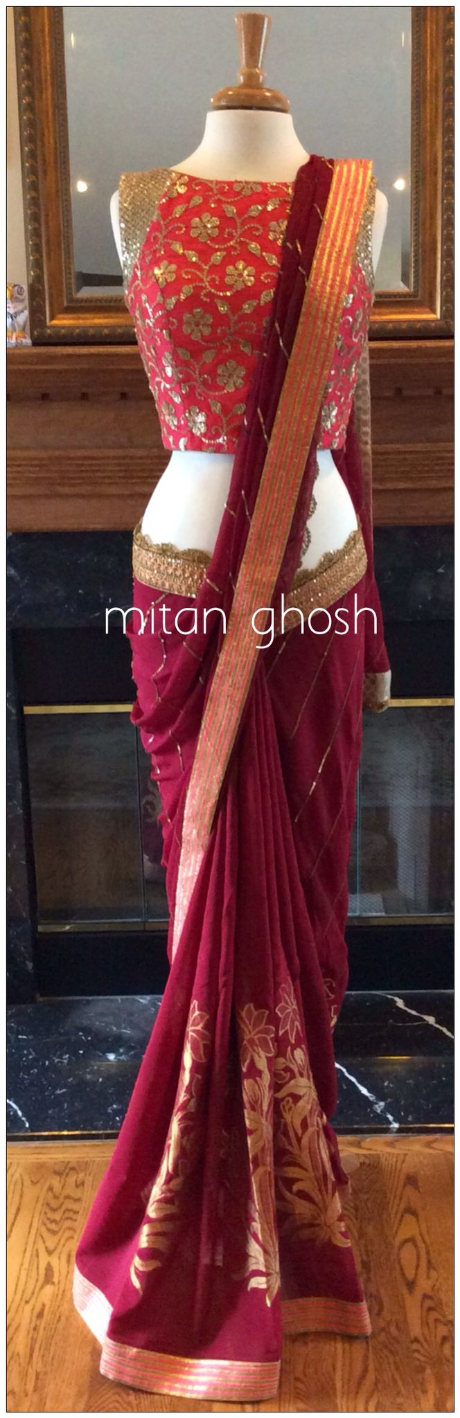 Chiffon and crepe saree