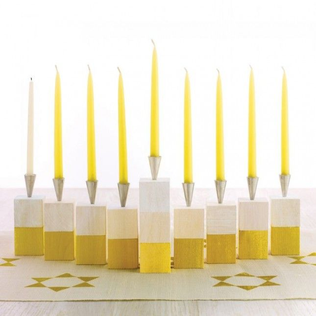 Create a bright minimalist menorah for Hanukkah.