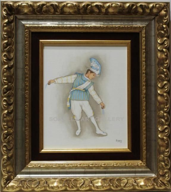 Sáez : Seise. Medium: Oil on wood Measurements (cm): 47x42 Canvas measurements (cm): 27x22 Interior frame: Yes.  Beautiful painting of a religious theme: a child dancer who is part of the chorus that perform at the Cathedral of Seville.$157.79