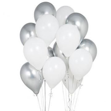 Elegant Party Balloons - Silver, White Balloons, Wedding Balloons, Birthday Balloons, Graduation Balloons, White Christmas Balloons  #balloons #birthd...