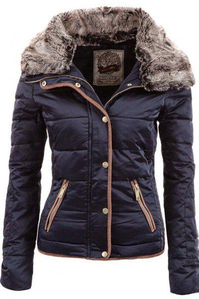 Chic Turn-Down Neck Long Sleeve Pocket Design Padded Coat For Women