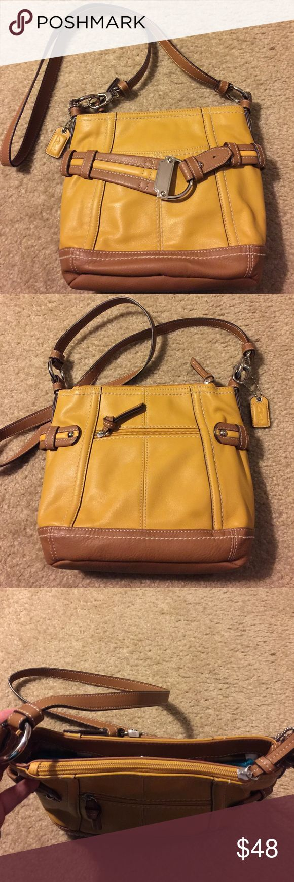 CLARKS LEATHER TWO-TONE CROSSBODY SHOULDER BAG CLARKS GENUINE LEATHER CROSSBODY CONVERTIBLE SHOULDER BAG - COLOR: Two-tone Mustard and Brown - contrast stitching accent, silvertone hardware, exterior zip pocket, exterior open pocket, one top zip compartment, one top snap compartment, one interior side zip pocket, one interior side open pockets, key fob Clarks Bags Crossbody Bags