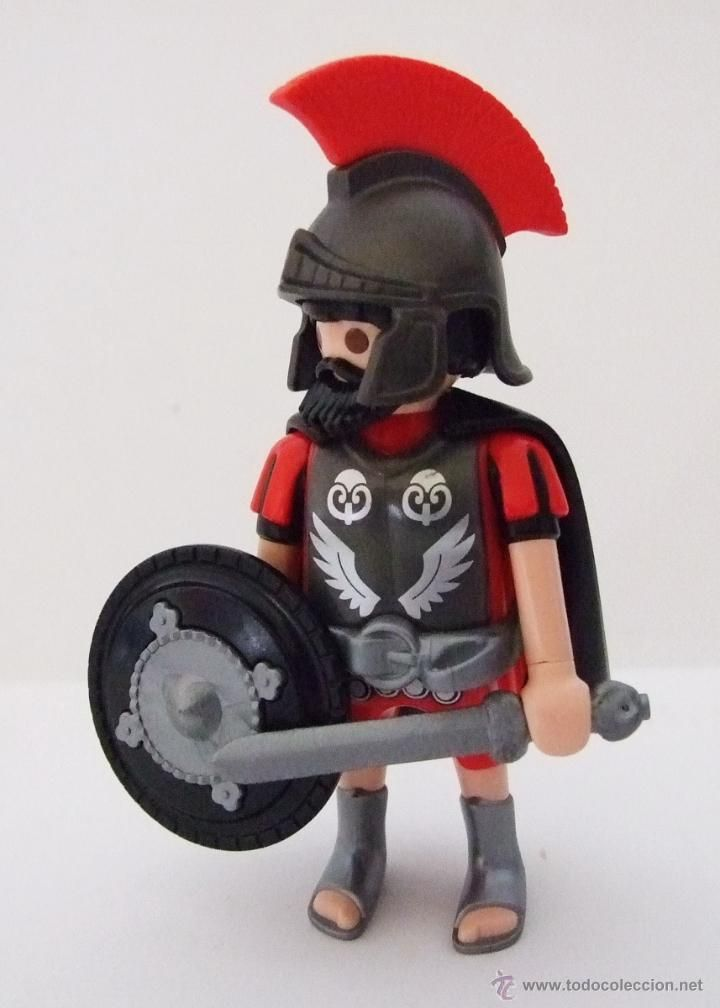 Playmobil Tribuno con casco, armadura, capa y escudo negros