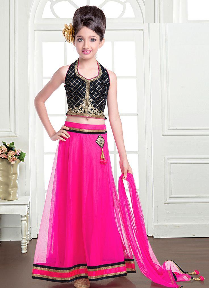 Sophisticated Black And Pink Net Designer Kids Lehenga Choli