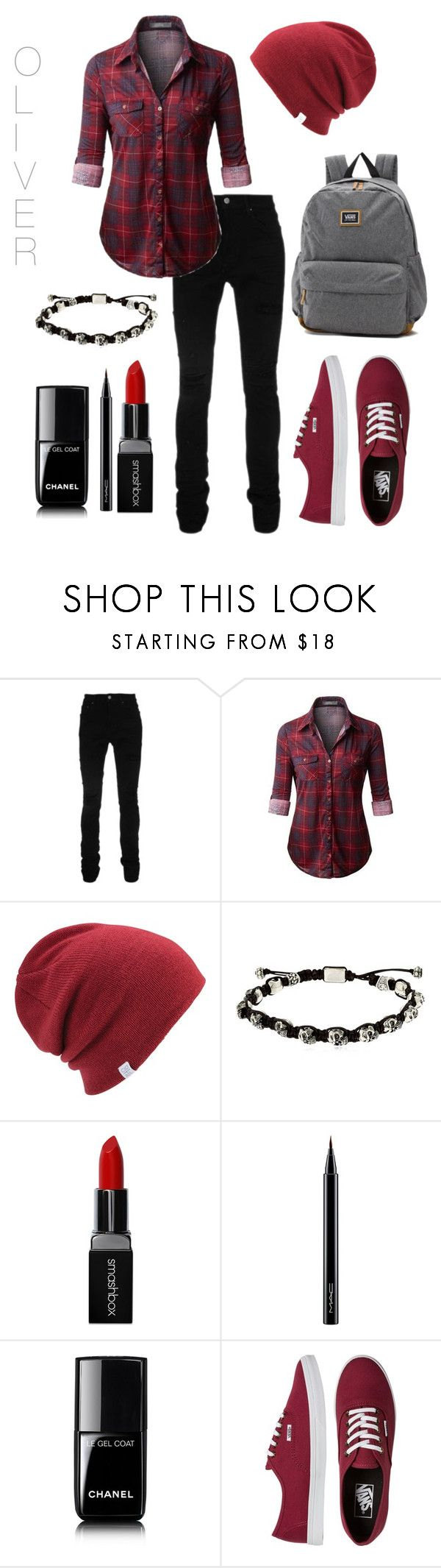 """#38"" by eli-butch ❤ liked on Polyvore featuring AMIRI, Coal, Cantini MC Firenze, Smashbox, MAC Cosmetics, Chanel, Vans, StreetStyle, school and grey"
