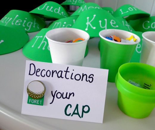 activity for the kiddos- decorate your own golf visor