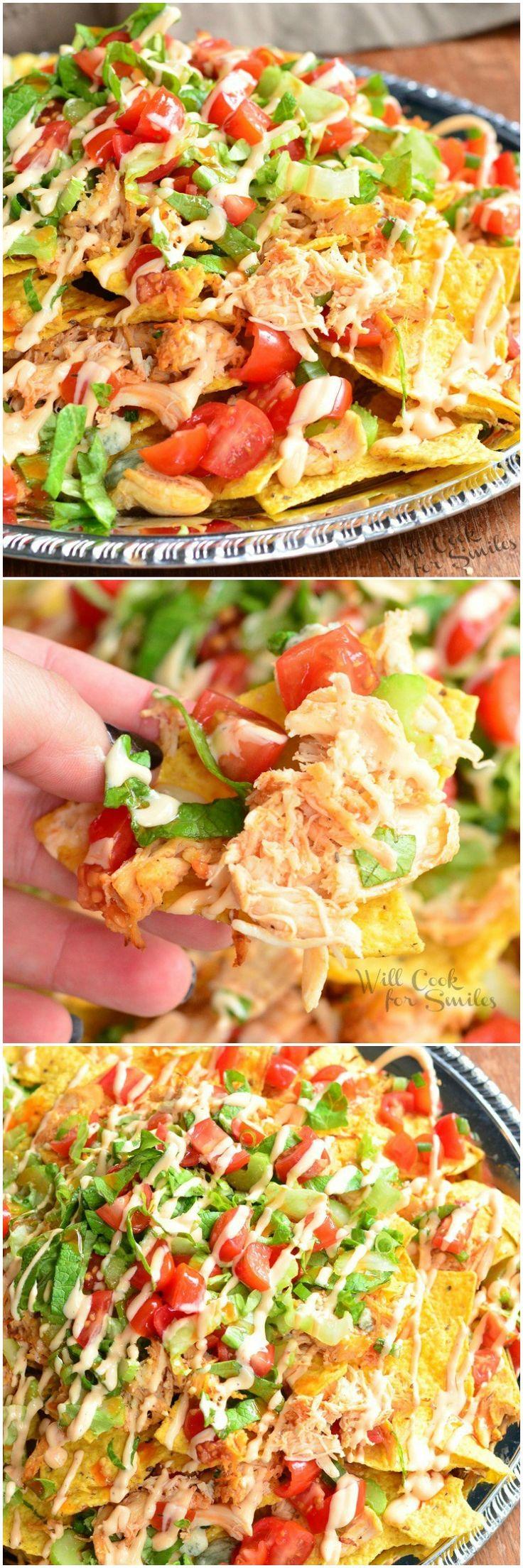 Buffalo Chicken Nachos | from willcookforsmiles.com #appertizer #snack
