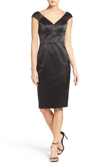 Free shipping and returns on Vince Camuto Deep V-Neck Stretch Satin Sheath Dress at Nordstrom.com. A sleekly fitted LBD never goes out of style. This version gleams in luxe stretch satin and defines the figure with structured seaming and a décolleté neckline that sits just off the shoulder for of-the-moment appeal.
