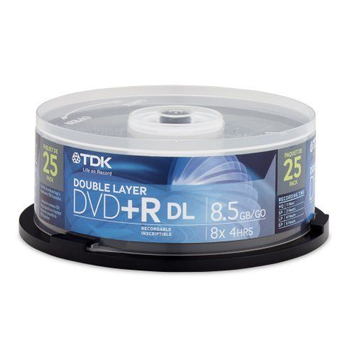 TDK DVD+R Double Layer Media Spindle, 8.5GB/240 Minutes, Pack Of 25 by TDK. $18.25. TDK - 25 x DVD+R 8x Dual Layer 8.5 GB 8x