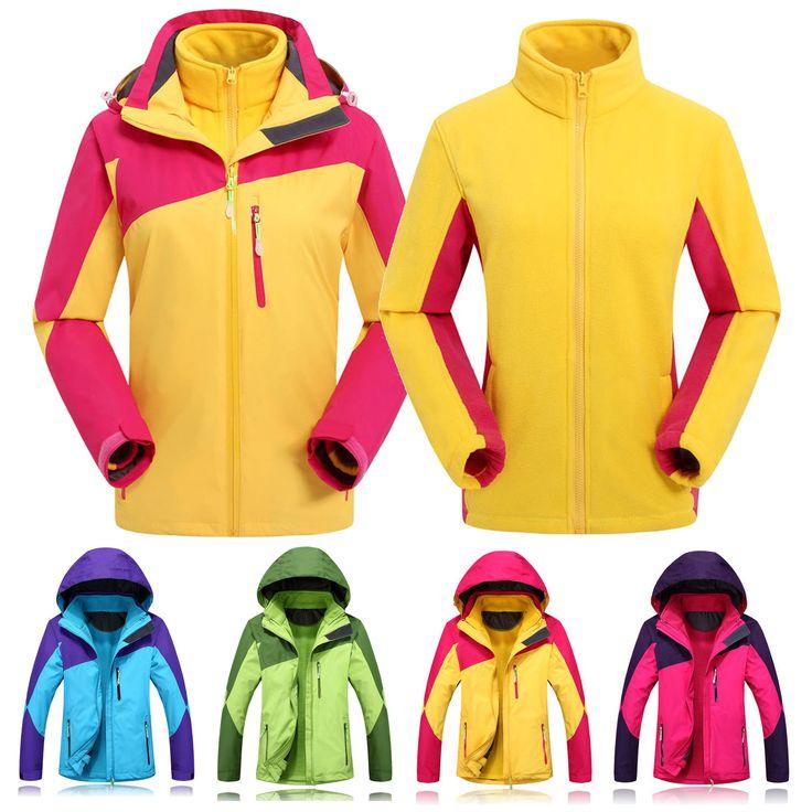 Women 2 In 1 Outdoor Sports Jacket Hiking Ski Windproof Hooded Coat Parka Anorak