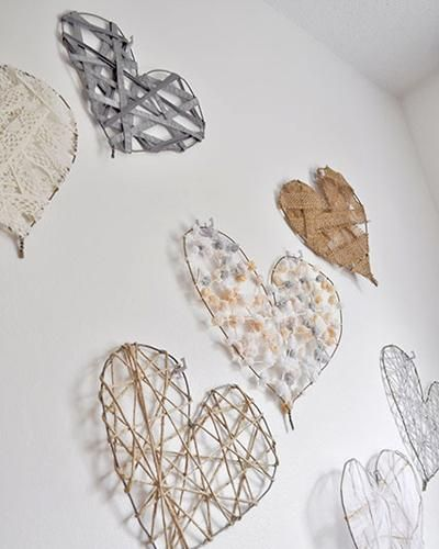 DIY Heart Art Decorations for Valentine's Day - coat hangers, assorted ribbon, hot glue