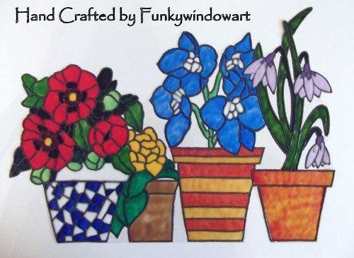 flower pots window border style 4 static window cling hand painted flower pots static window clings - Window Clings