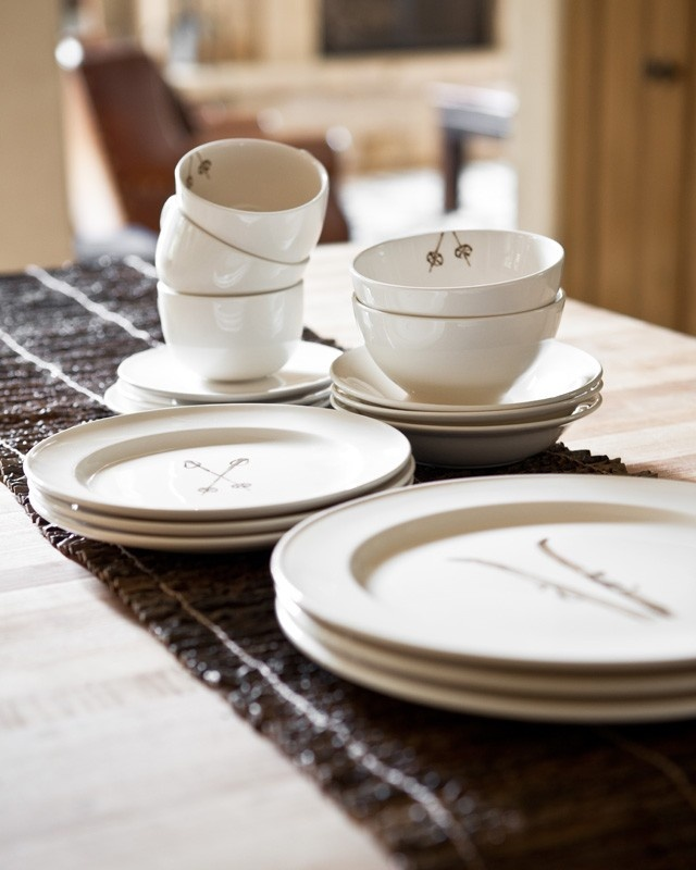 This ski inspired dinnerware from Chehoma is a customer favorite.  Goes great in a your beautiful mountain home.