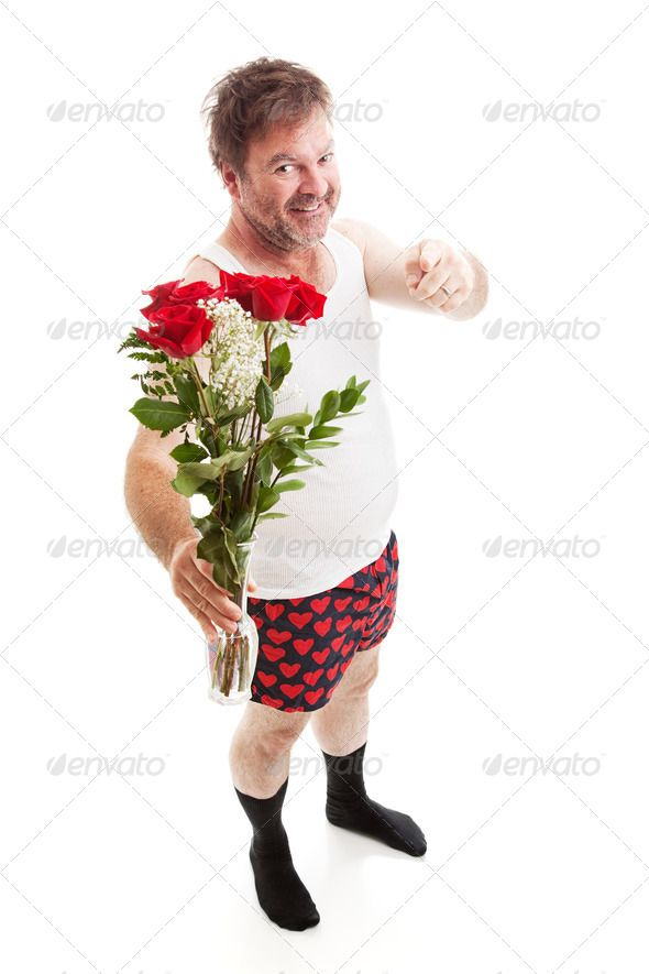 Overconfident Scruffy Guy with Flowers ...  admirer, adult, affection, bouquet, boxer shorts, caucasian, cut out, date, dating, flower, flowers, funny, gift, giving, hearts, holiday, hopeful, humorous, humour, husband, isolated, love, male, man, mature, nerd, person, pointing, present, ridiculous, romance, romantic, rose, roses, scruffy, seasonal, smiling, unattractive, undershirt, underwear, unshaven, valentine, valentines day, vase, white background, wife-beater