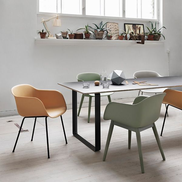 Fiber chairs and 70/70 table by Muuto.