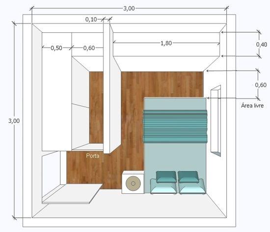 quarto pequeno 3x3 Closet