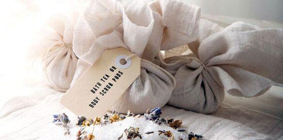 How To: Homemade lavender & chamomile bath tea & body scrub pods.