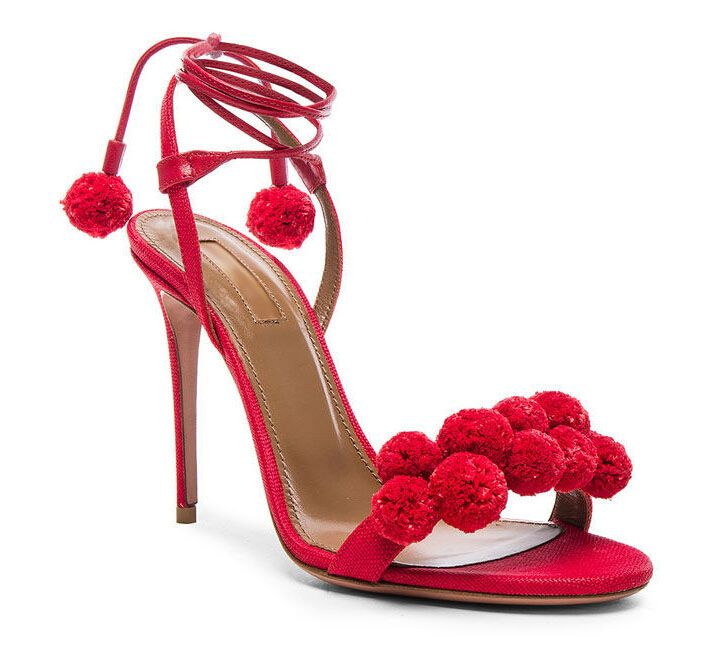 Hot Sale Newest Fashion Dazzling Red Sandals Thin Heel Cute Red Pompon Design Sexy Ankle Lace
