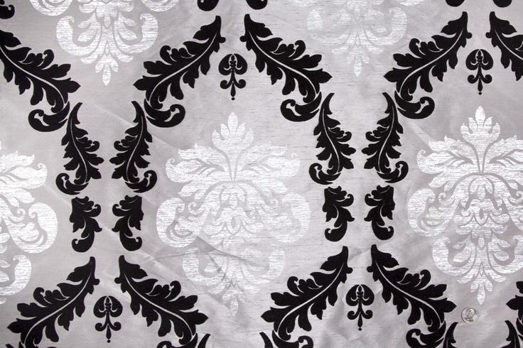 Mood Fabrics : New York Fashion Designer Discount Fabric | HP3254 Platinum/Silver/Black Damask Flocked