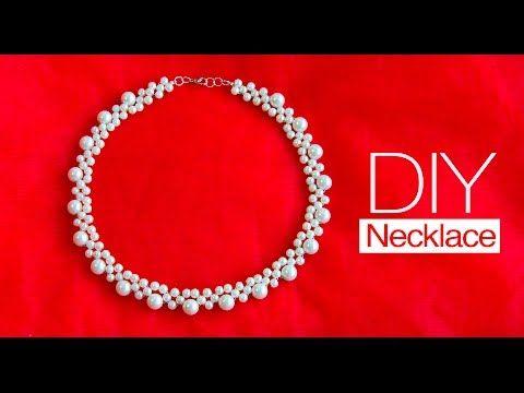 Beginners DIY jewelry pearl set -beaded necklace, bracelet, earrings - YouTube