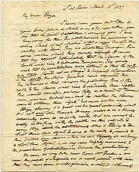 letter from Webster to daughter, Eliza, 1837