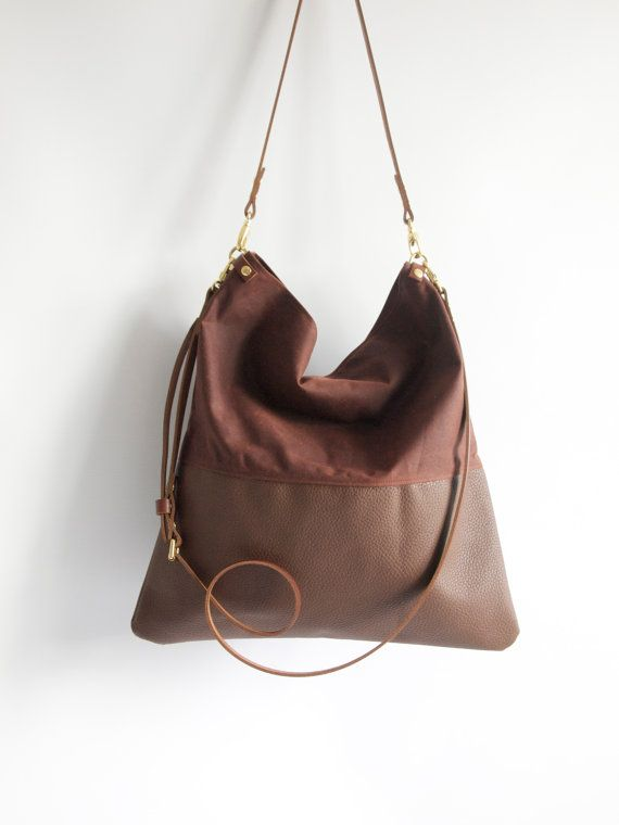 Brun et brun cuir ciré réglable en cuir sac à bandoulière en cuir Shopper travail sac de toile cabas - HARRIS-