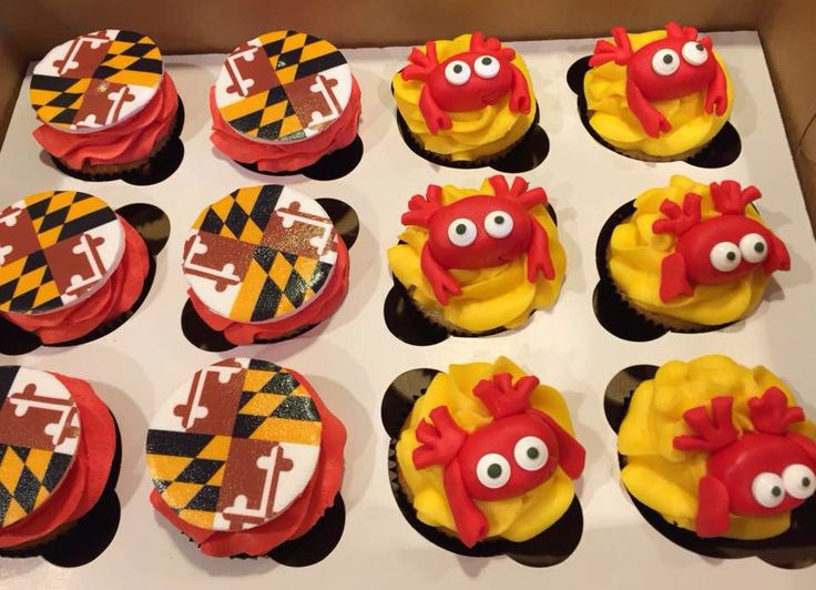 Mini Of Annapolis >> Maryland themed cupcakes : crab cupcakes : Maryland flag cupcakes | Let Them Eat Cake By Jenny ...