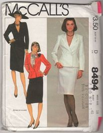 McCall's 8494 D Miss Size 18 Bust 40 Jacket Skirt Uncut Sewing Pattern. Misses' Jacket and Skirt : Lined, fitted and flared, double-breasted jacket has notched collar, princess seaming, two-piece sleeves with button-trimmed vents, shoulder pads and sleeve heads. Straight skirt is gathered to waistband, has pockets side front seams, center back vent and back zipper closing.