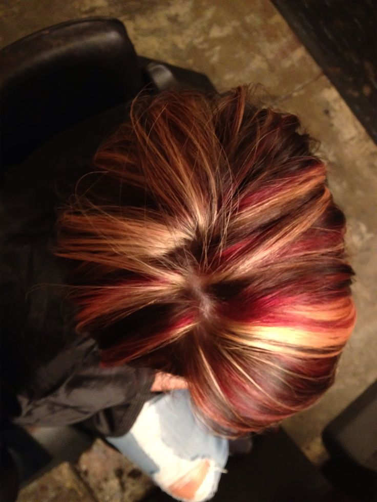 Fall hair color. Red, blonde, and dark brown. I dont like this red but I want to do this with a different red. :)