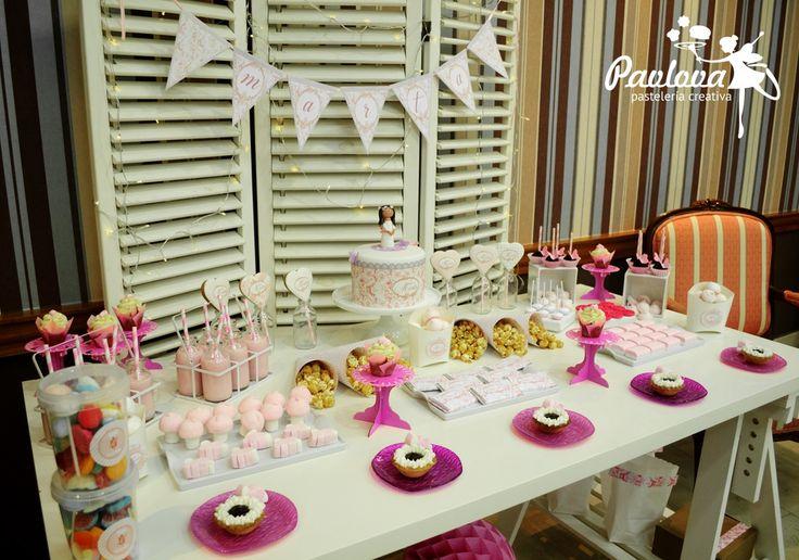 Mesa comunión dulce chuches fiesta postre