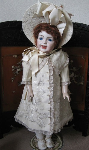Hand Embroidered Dress Costume Hat for Antique French Doll BEBE by Jean Jackson