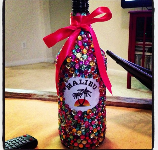 Bedazzled Malibu bottle