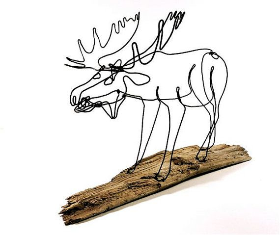 Moose Wire Sculpture Bull Moose Wire Art Minimal by WiredbyBud