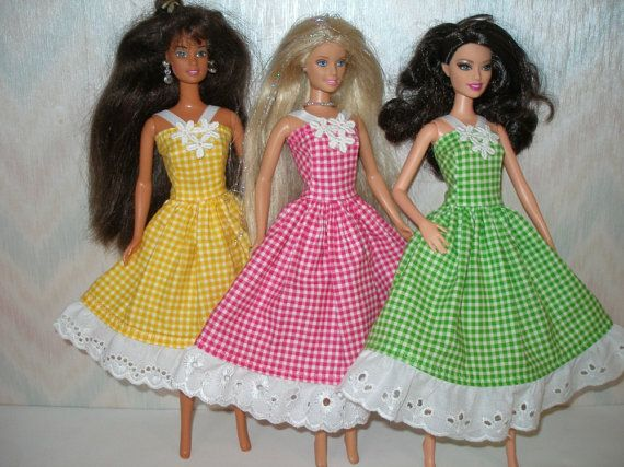 Handmade Barbie clothes - Your choice - choose 1 - yellow, pink or green check dress with eyelet trim