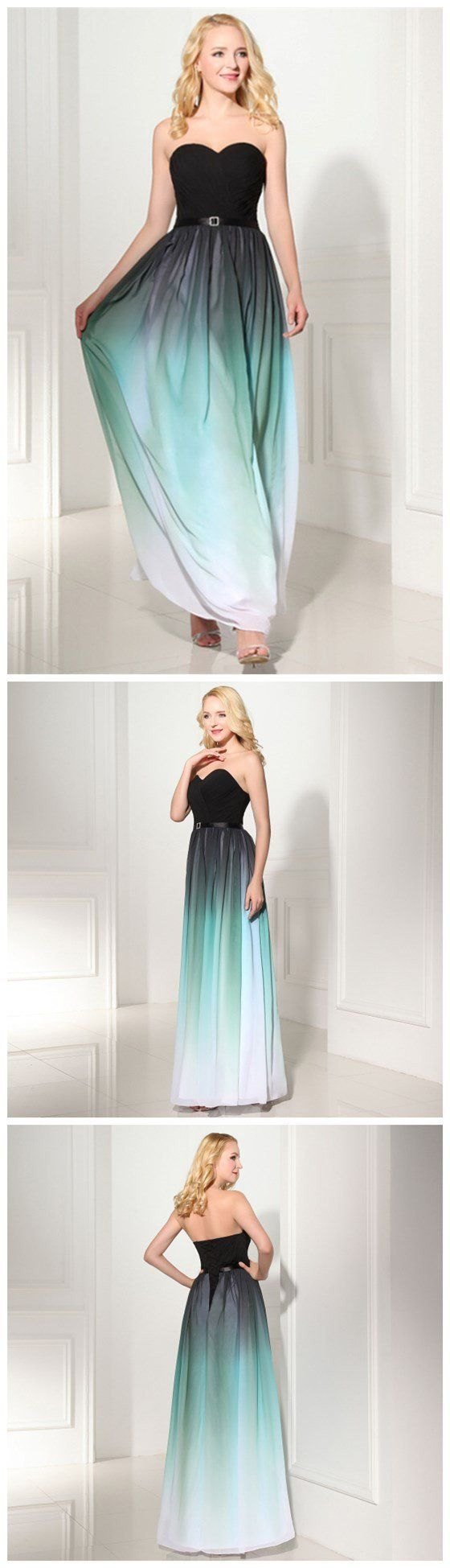 Chiffon Gradient Cheap Custom Popular Simple Evening Long Prom Dresses Long Prom Dress by DestinyDress, $225.00 USD