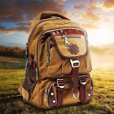 Vintage Canvas Backpack Rucksack Satchel Travel Hiking Laptop Bag for Men Women