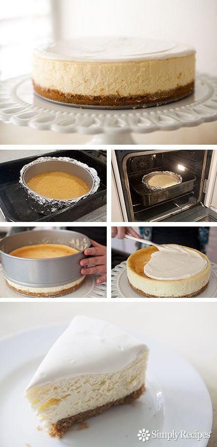 Perfect, classic cheesecake with a graham cracker crust on SimplyRecipes.com #sweets #dessert