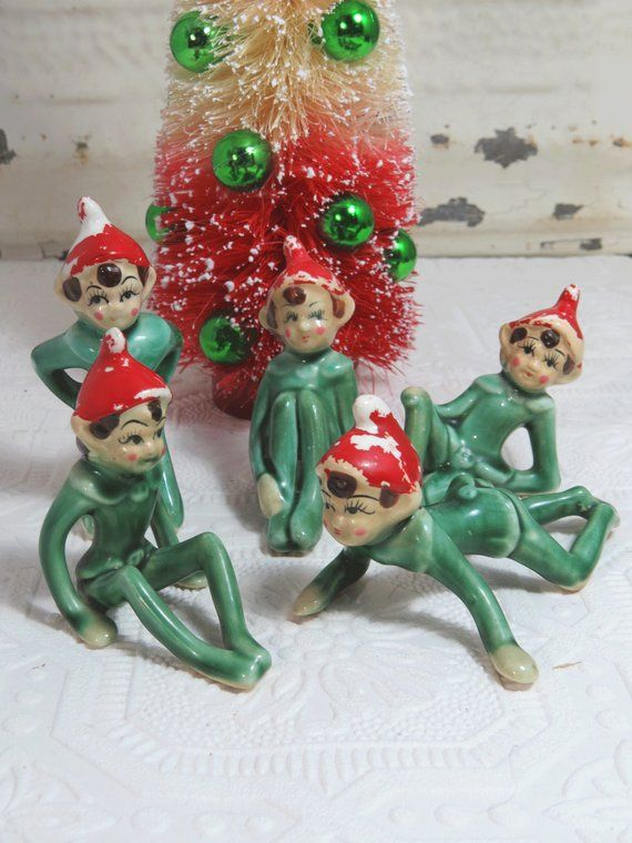 Elf Pixie Set Of 5 Christmas Decor Ceramic Retro Japan Vintage Christmas Ornaments Christmas Decorations Ornaments Christmas Decorations
