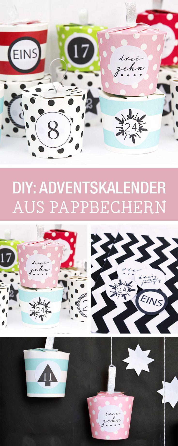 Einfache DIY-Anleitung für einen Adventskalender aus Pappbechern / last minute advents calendar diy via DaWanda.com