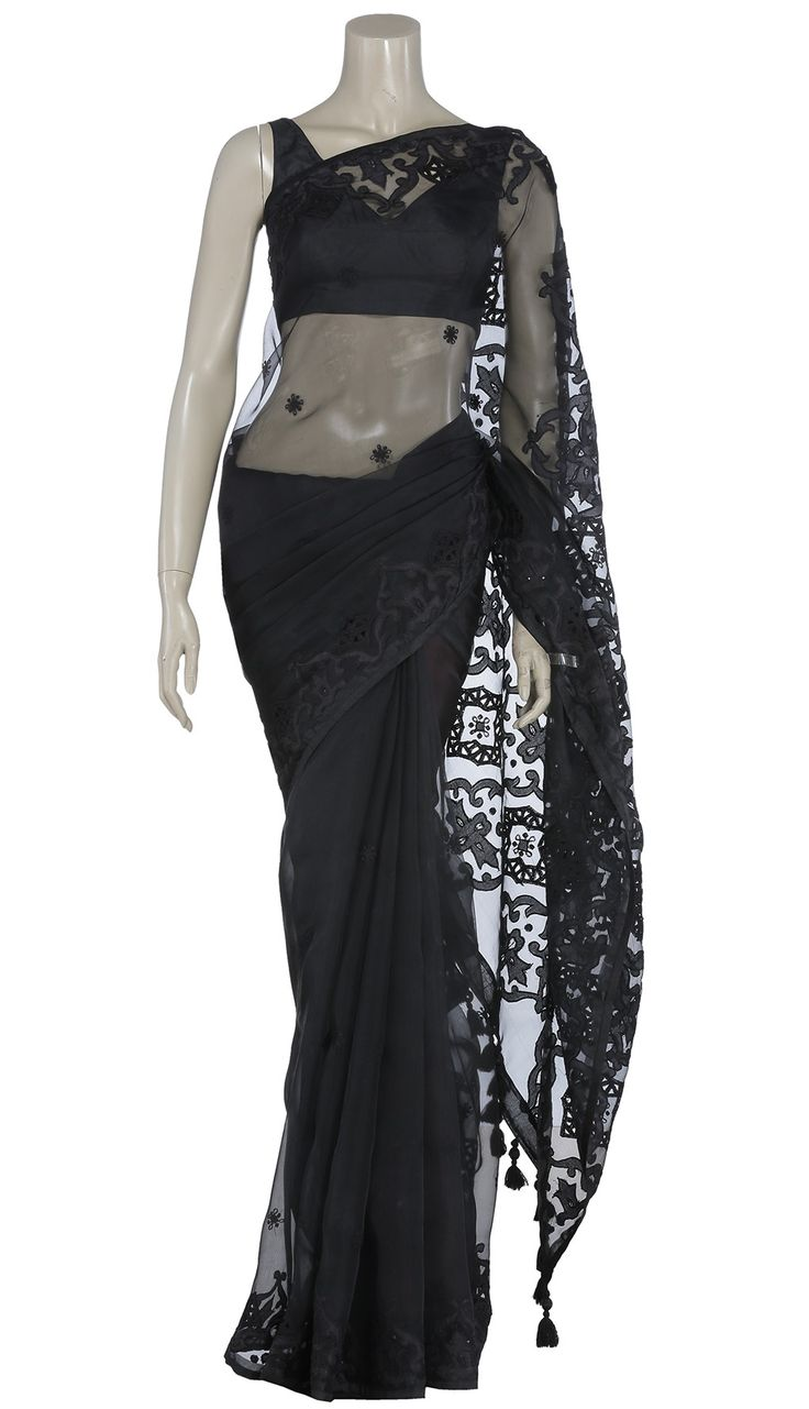 Black Appliqued and Cutwork Muslin Saree
