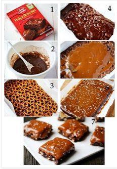 best yumy recipes: Salted Pretzel Caramel Brownies