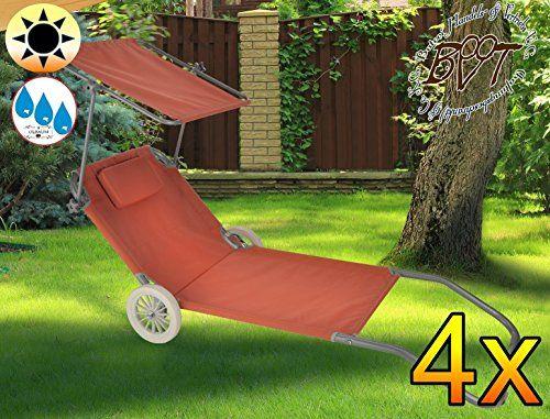 4 X Heavy Duty Garden Chair Folding Bed Sun Lounger Terracotta Beach Chair With Wheels Recliner