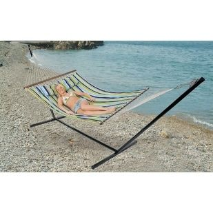 Stansport Antigua Double Cotton Hammock With Stand, Blue caribbean #30900