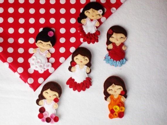 flamencas...soft felt brooches