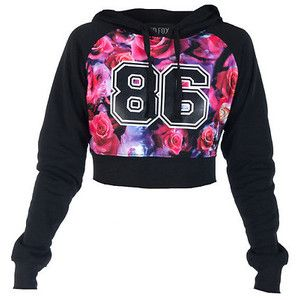 ROSE PRINT FLEECE CROP HOODIE Black ESSENTIALS